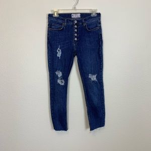 Free People Destroyed Reagan Button Front Jeans